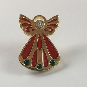 Red Green Gold Tone Christmas Angel Pin